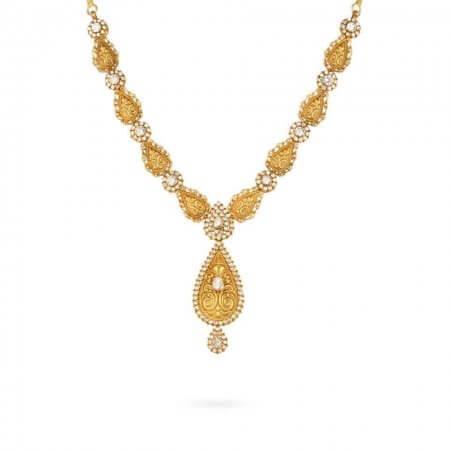 24589 - 22ct Uncut Polki Stone Necklace