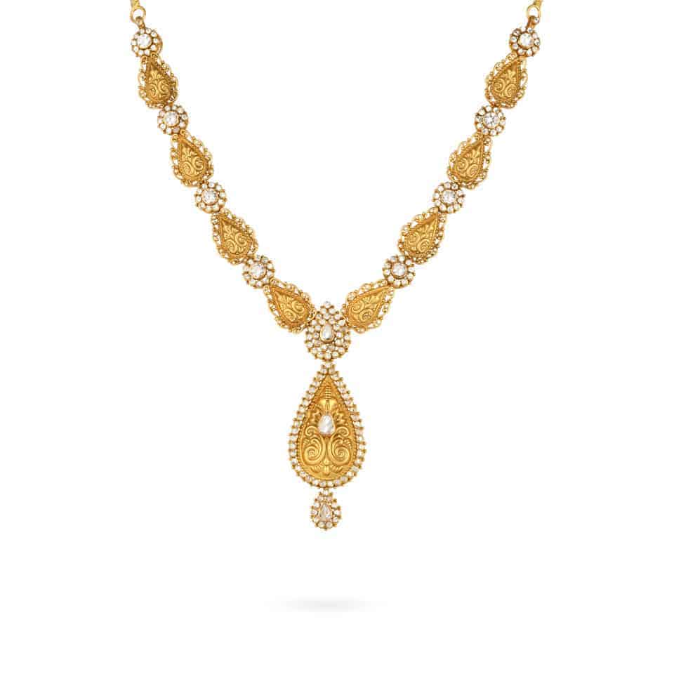 24589 - 22ct Uncut Polki Stone Necklace