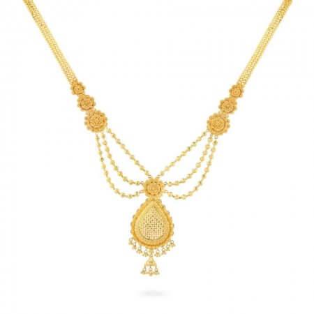 26064 - Jali 22ct Yellow Gold Filigree Bridal Necklace