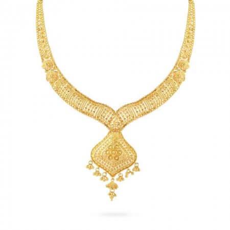 25066 - Jali 22ct Gold Filigree Bridal Necklace