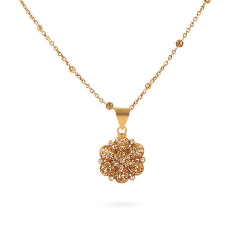 22519,23683 - Anusha 22ct Uncut Polki Diamond Pendant and Chain Set