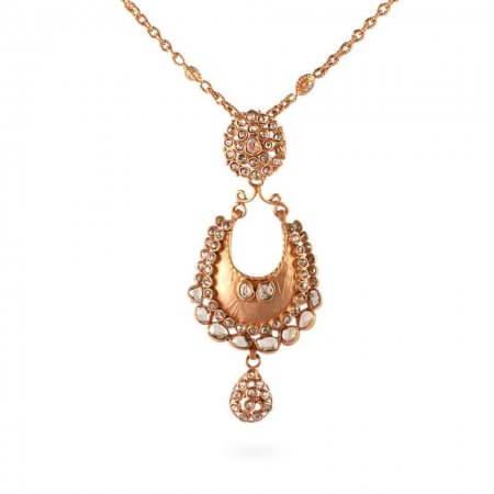 23691, 23683 - Anusha 22ct Uncut Polki Diamond Pendant and Chain Set