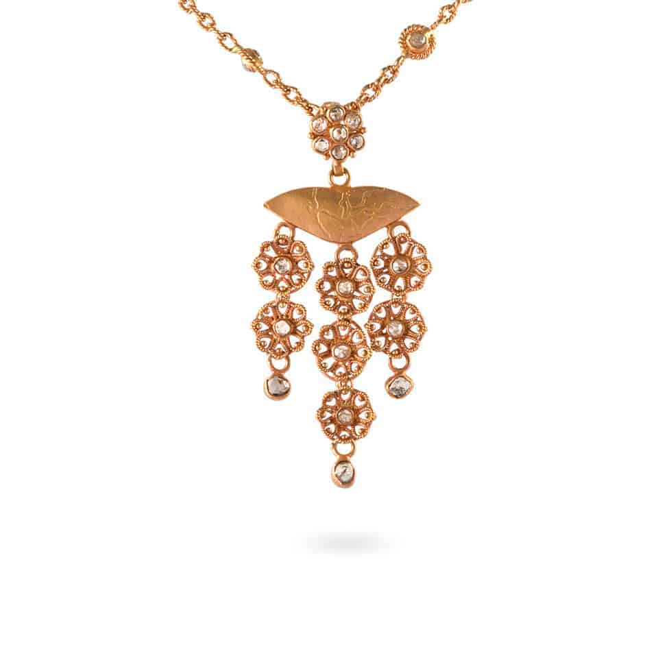 23698, 23683 - Anusha 22ct Uncut Polki Diamond Pendant and Chain set
