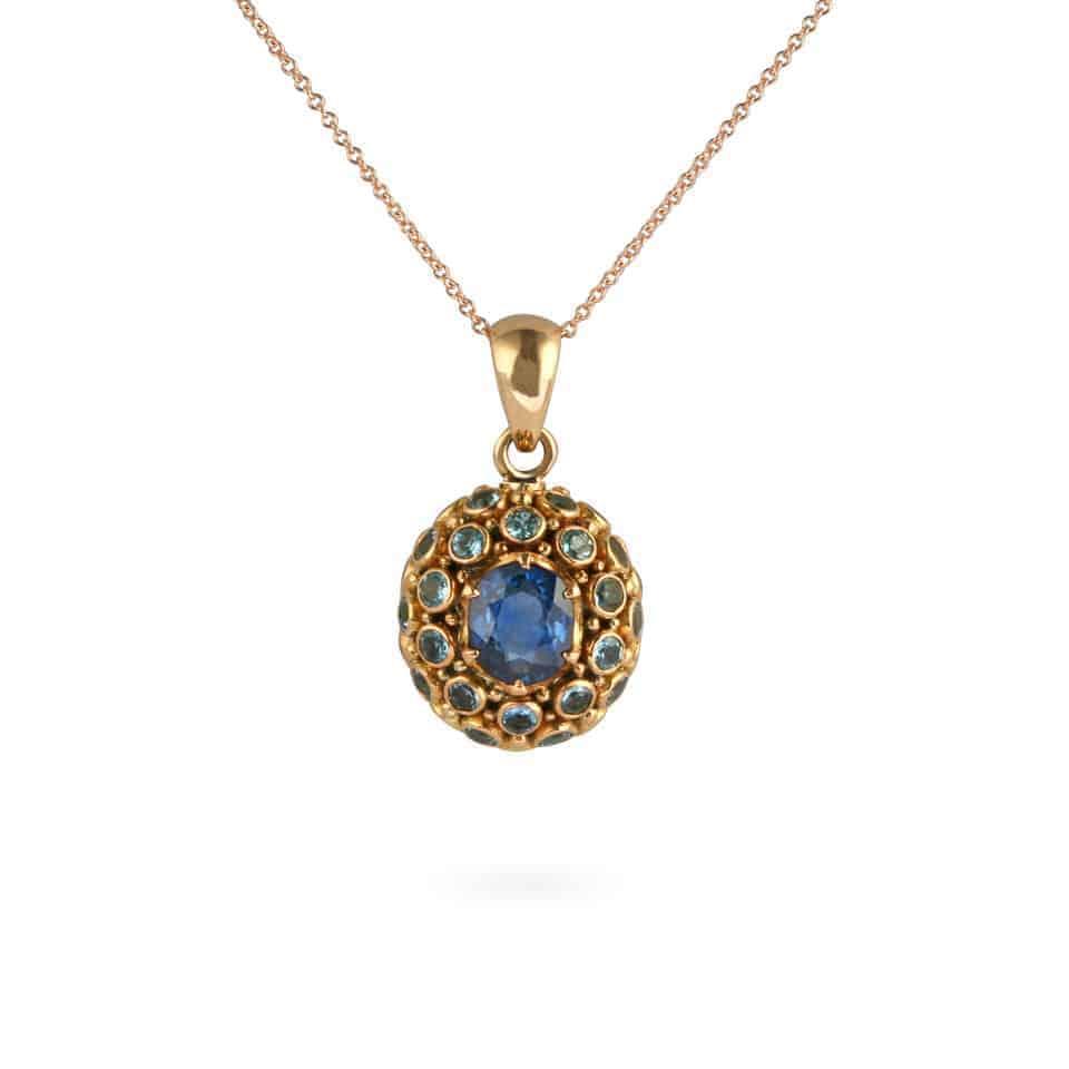 24867 - Blue Sapphire and Aquamarine Pendant