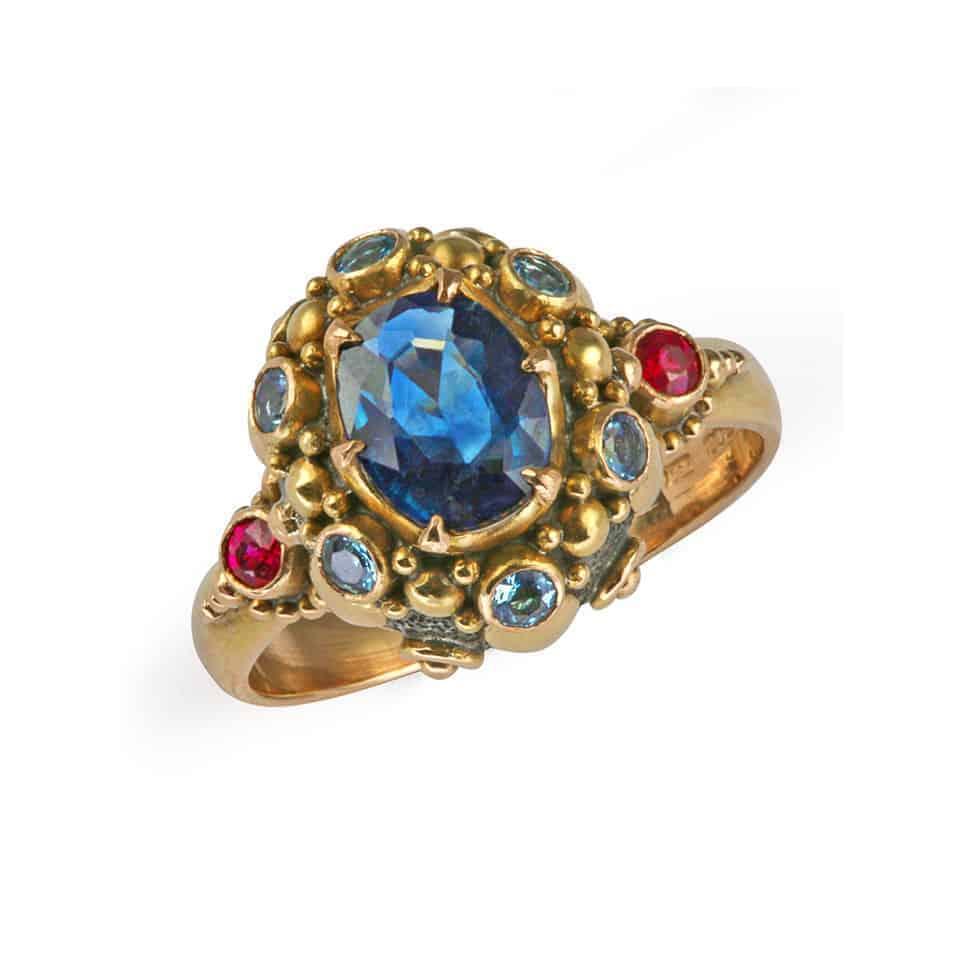24868 - Blue Sapphire and Aquamarine Ring