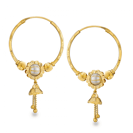 26889 - 22ct Gold Hoop Earrings with droplets