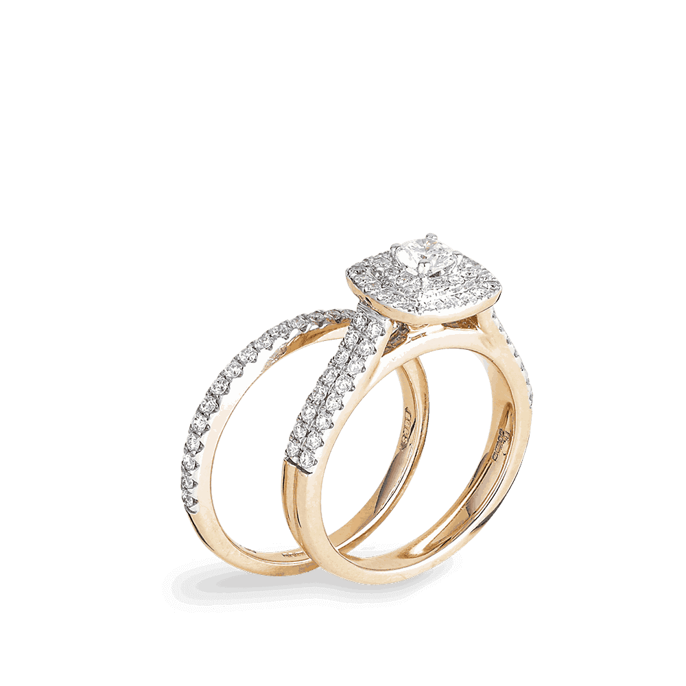 26936 - Rose Gold Double Engagement Diamond Ring