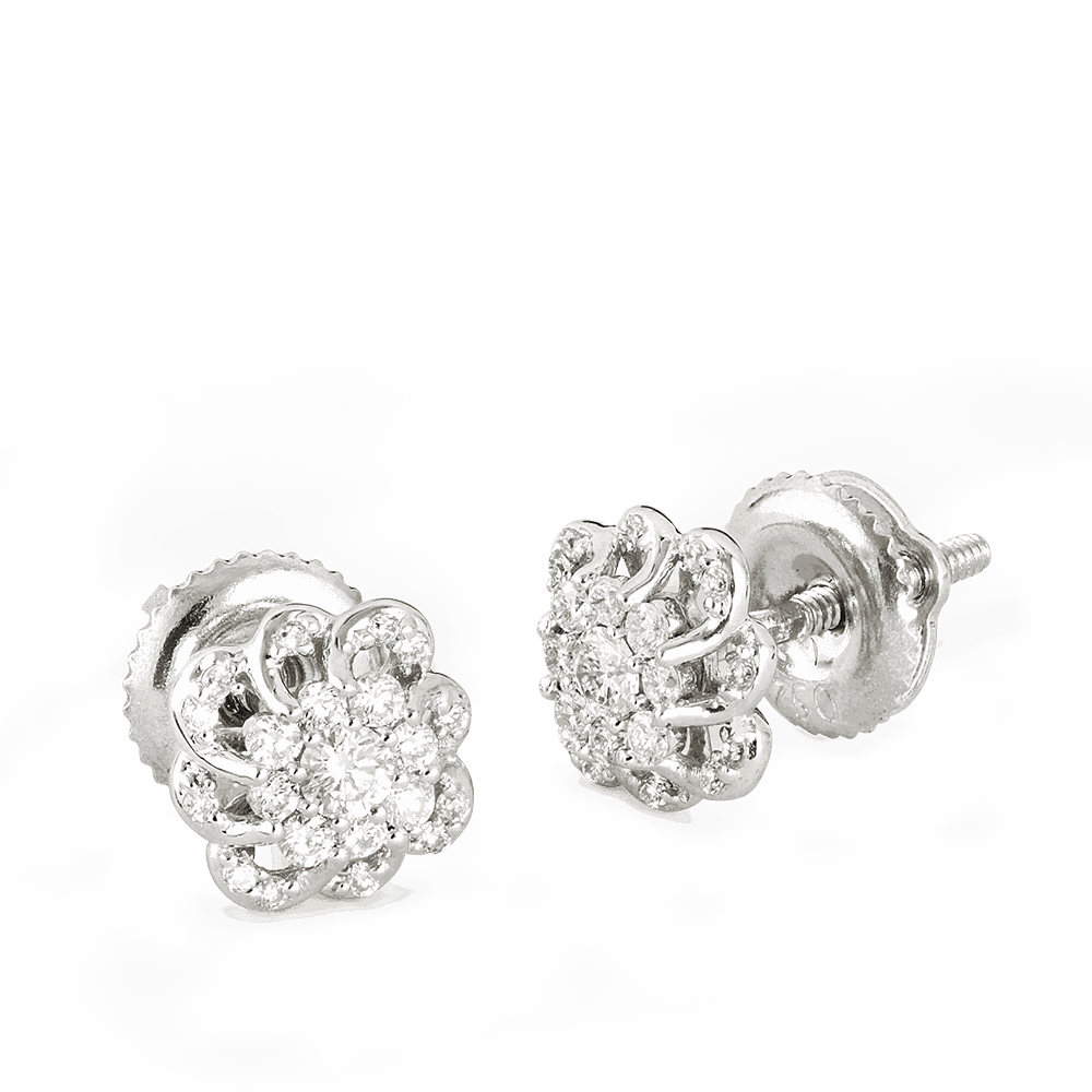 26985 - 18ct White Gold Floral Diamond Ear studs
