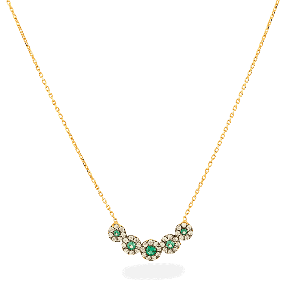 27039 - 22ct Gold Green Stone Necklace