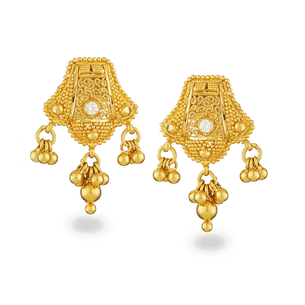 16583 - 22ct Gold Filigree Earrings