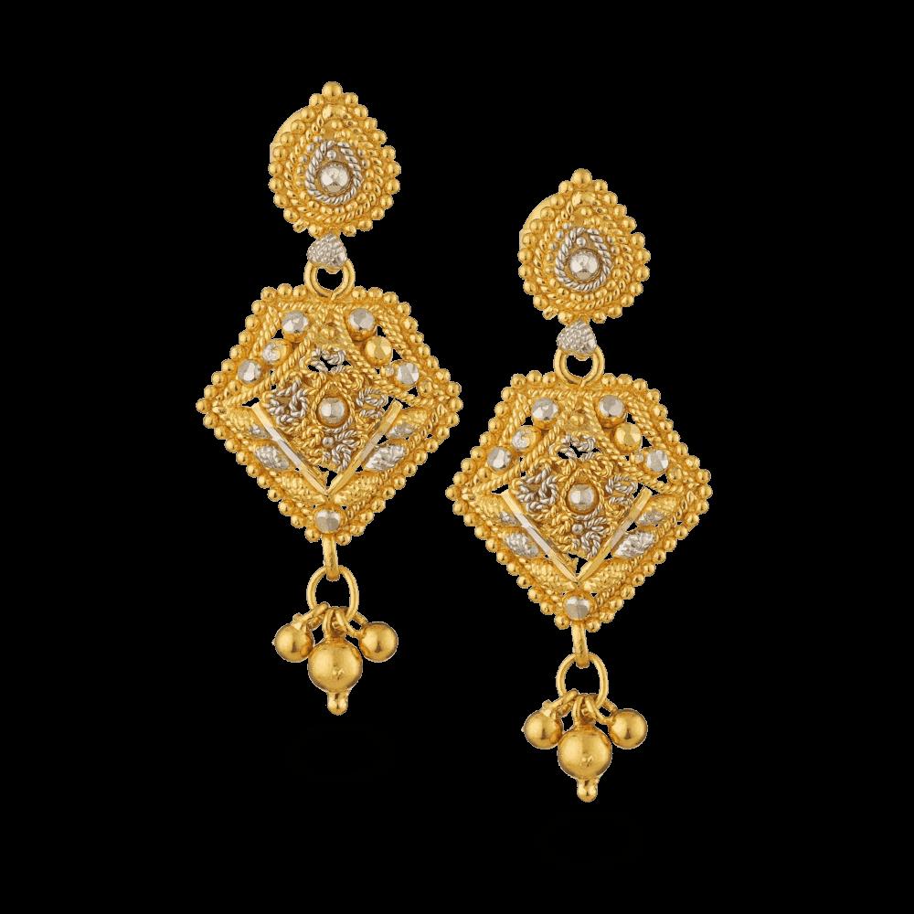 18073 - 22ct Gold Filigree Earrings