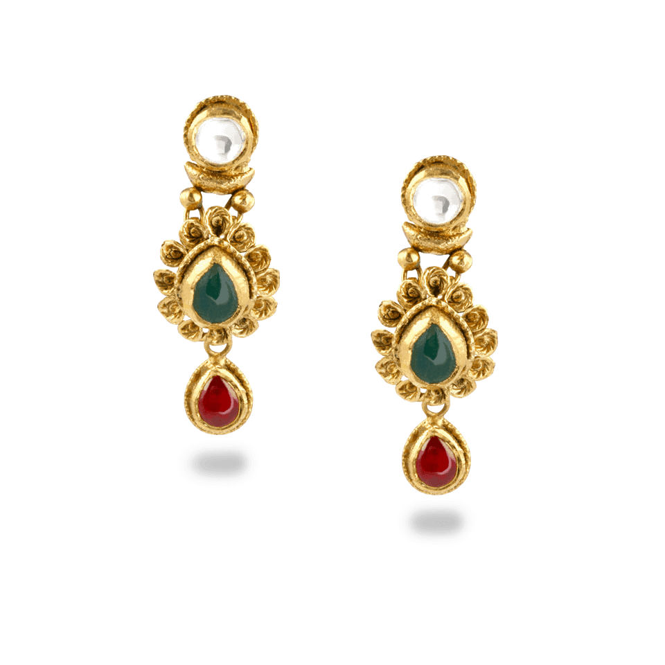 - 22ct Gold Kundan Earrings