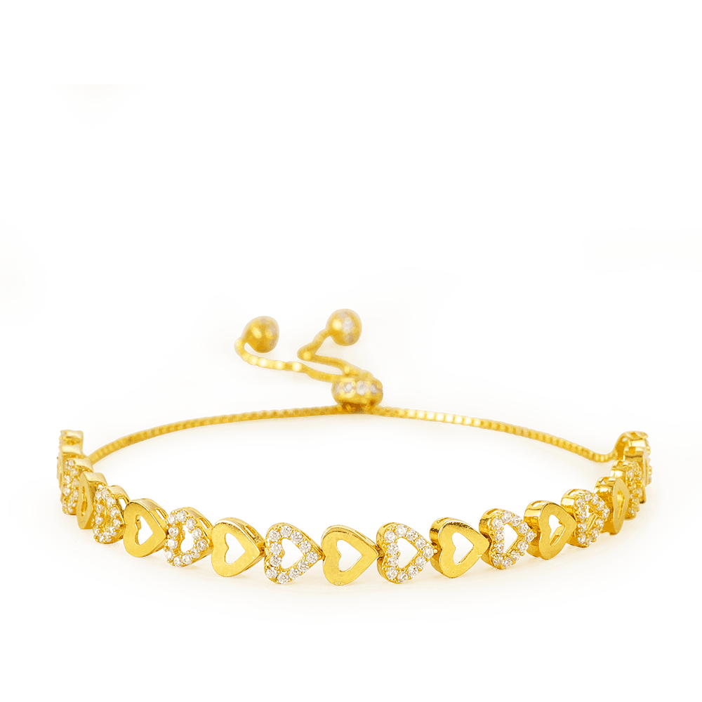 - 22ct Gold Row of Hearts Bracelet
