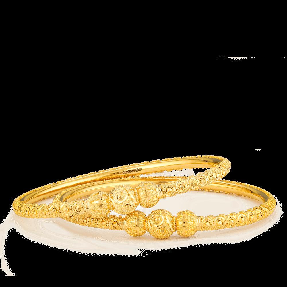27144,27145 - 22ct Gold Jali Kada Bangles