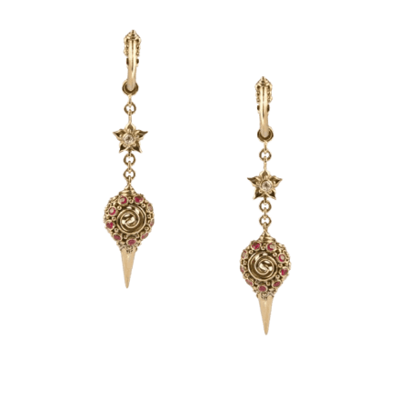 - Diamond And Ruby Drop Earrings