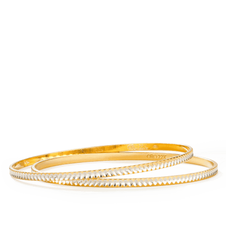 27137,27138 - 22ct Gold  Bangles Rhodium Plated