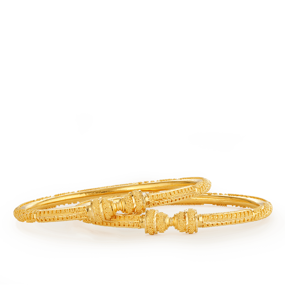26687,26686 - 22ct Gold Jali Bauble Kada Bangles