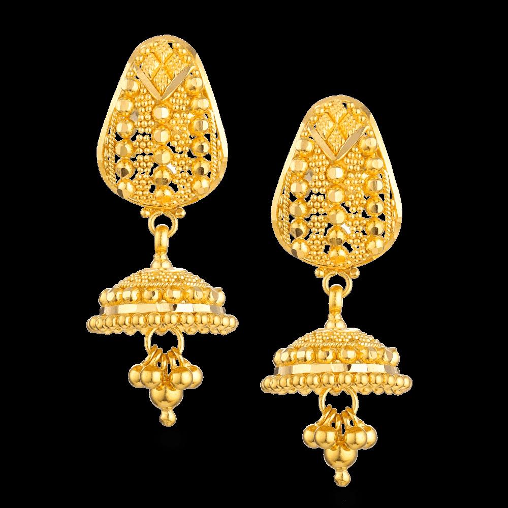 27163 - 22ct Gold Jali Filigree Jhumka Earrings