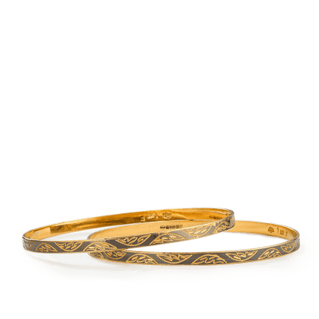 7528,7530 - 22ct Gold Rhodium Plated Bangles