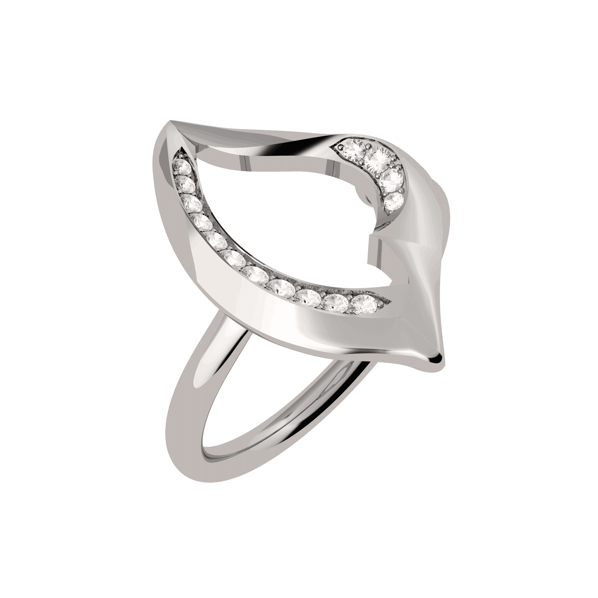 27753 - Vinyasa Natural White Gold and Diamond Hollow Ring