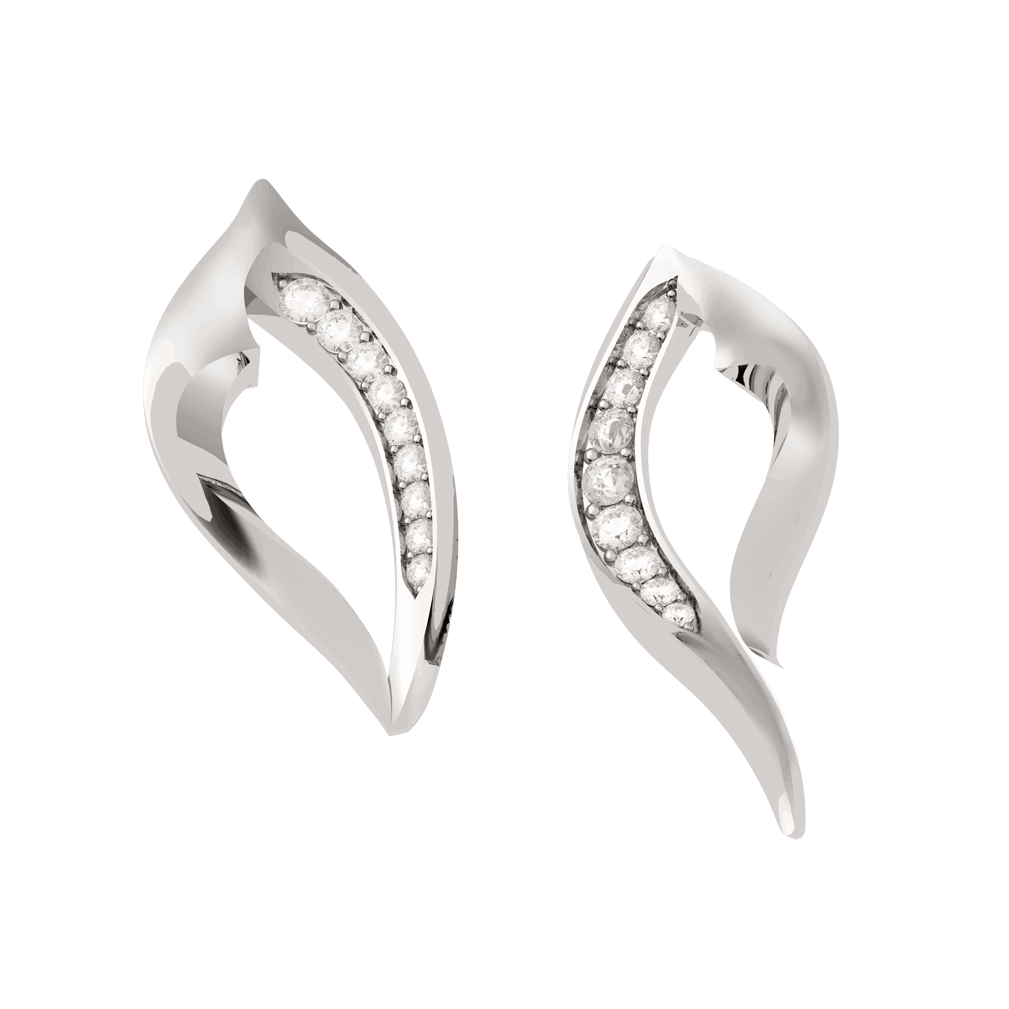 VINEA001 - Vinyasa Natural White Gold  Assymetric Ear Studs