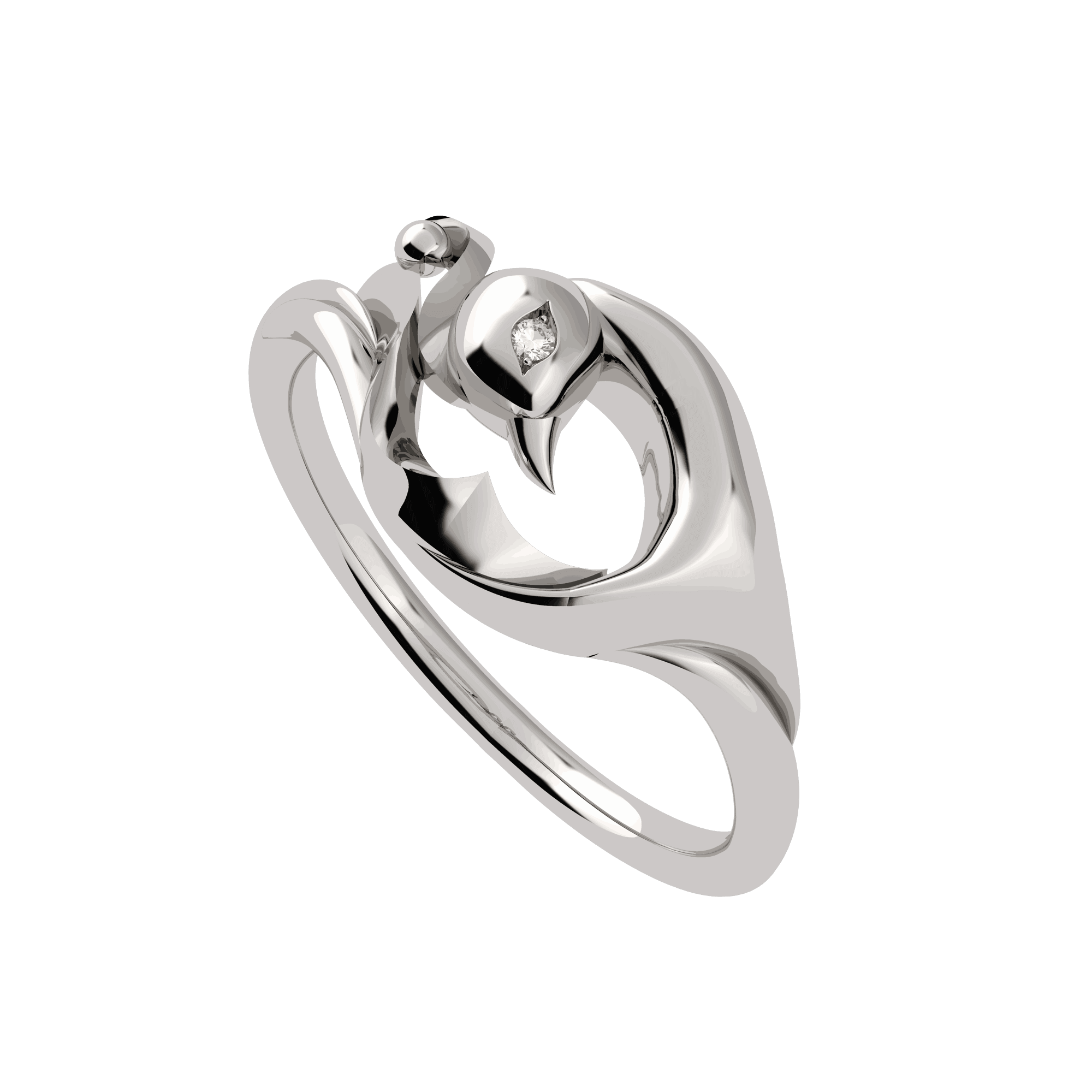 - Vinyasa Peacock Ring in Natural White Gold
