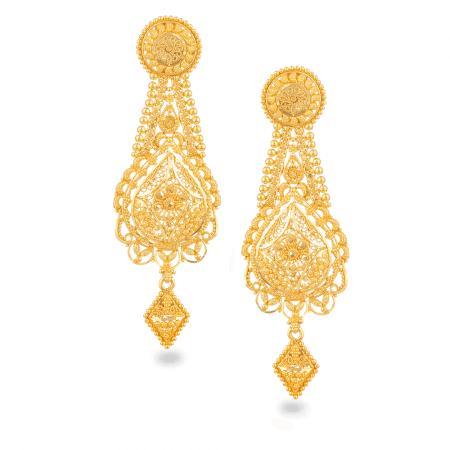 26278 - Jali 22ct Gold Filigree Earring