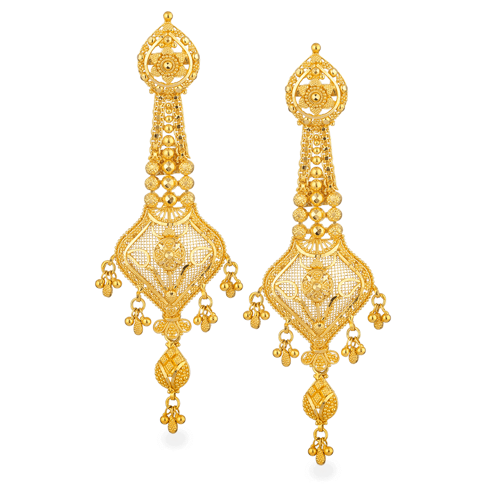 - Jali 22ct Gold Filigree Earrings