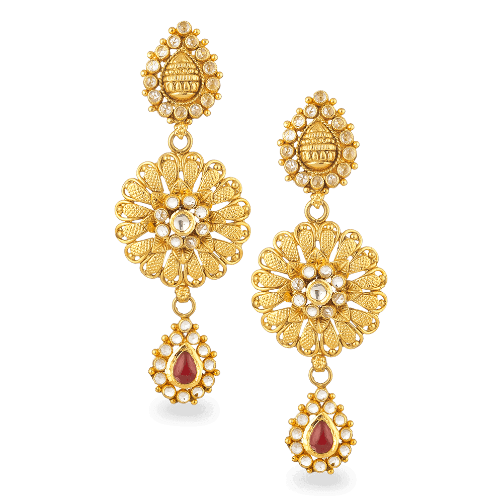 - 22ct Gold Polki Earring