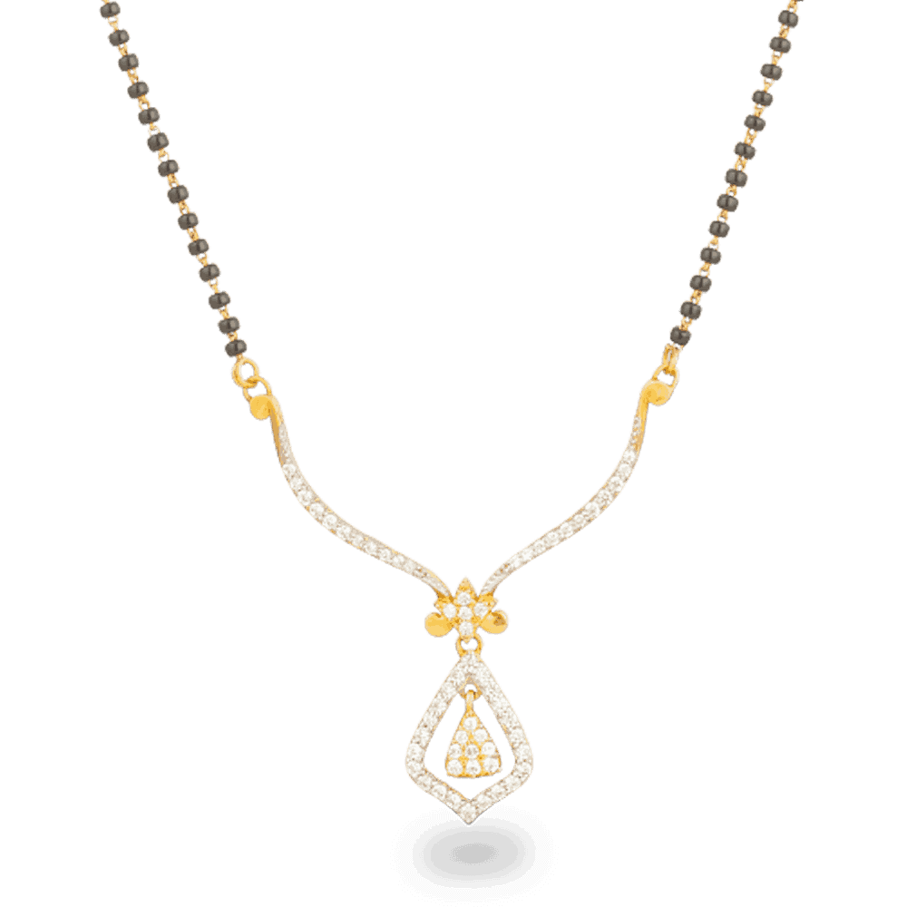 19468 - 22ct Gold CZ Tanmania Pendant Mangalsutra