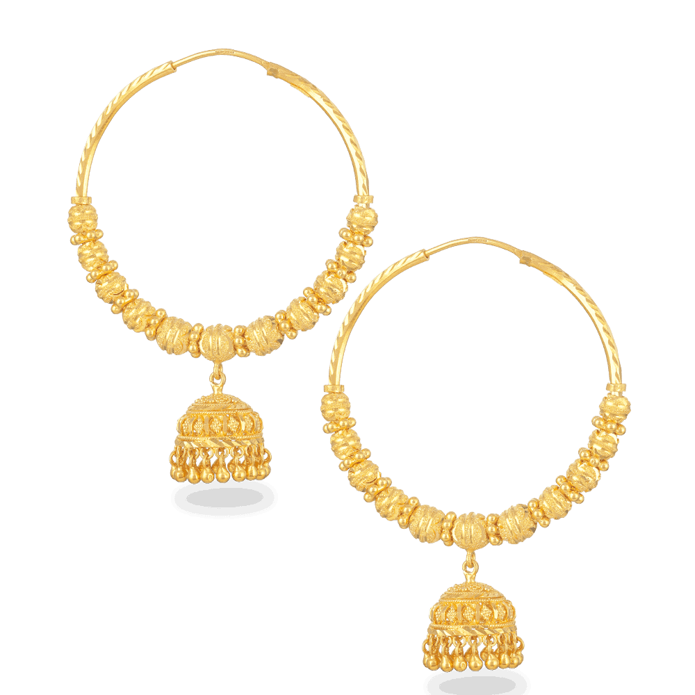 24959 - 22ct Gold Hoop Earrings With Droplet