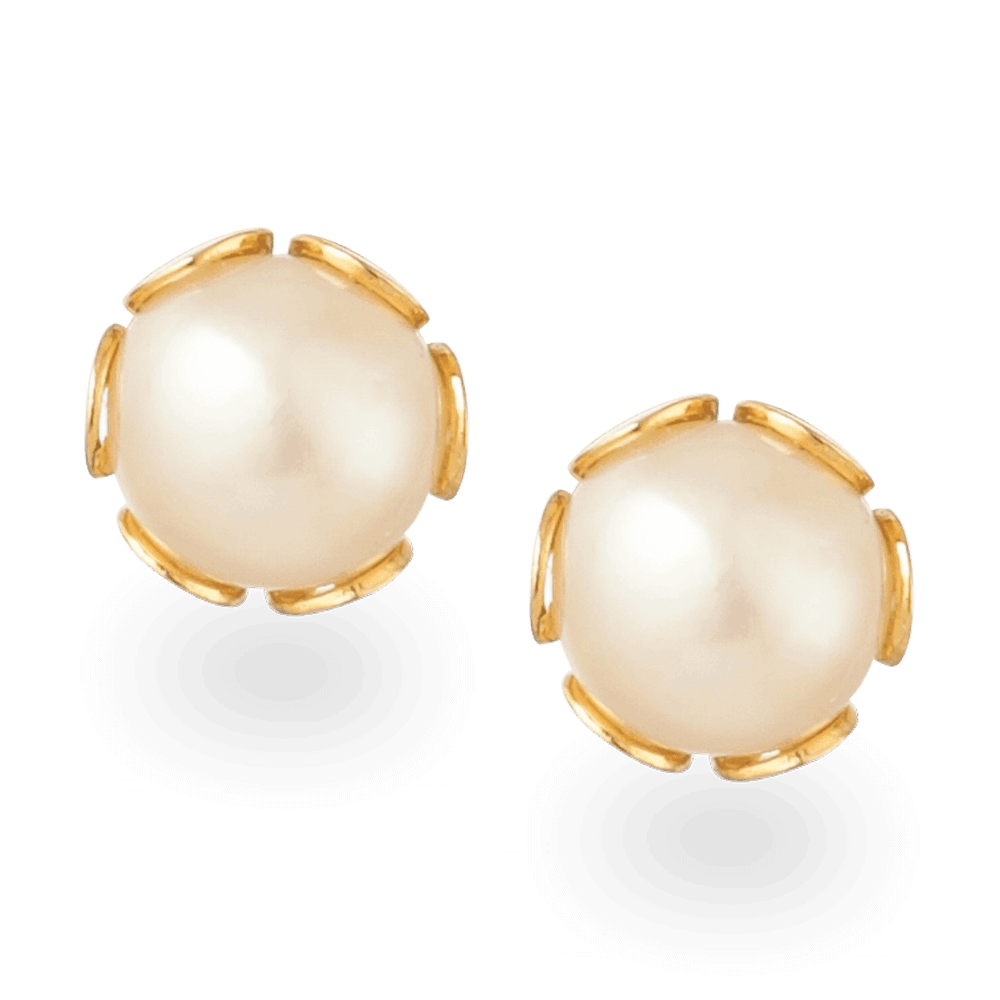26061 - 22ct Gold Pearl Ear Stud Earrings