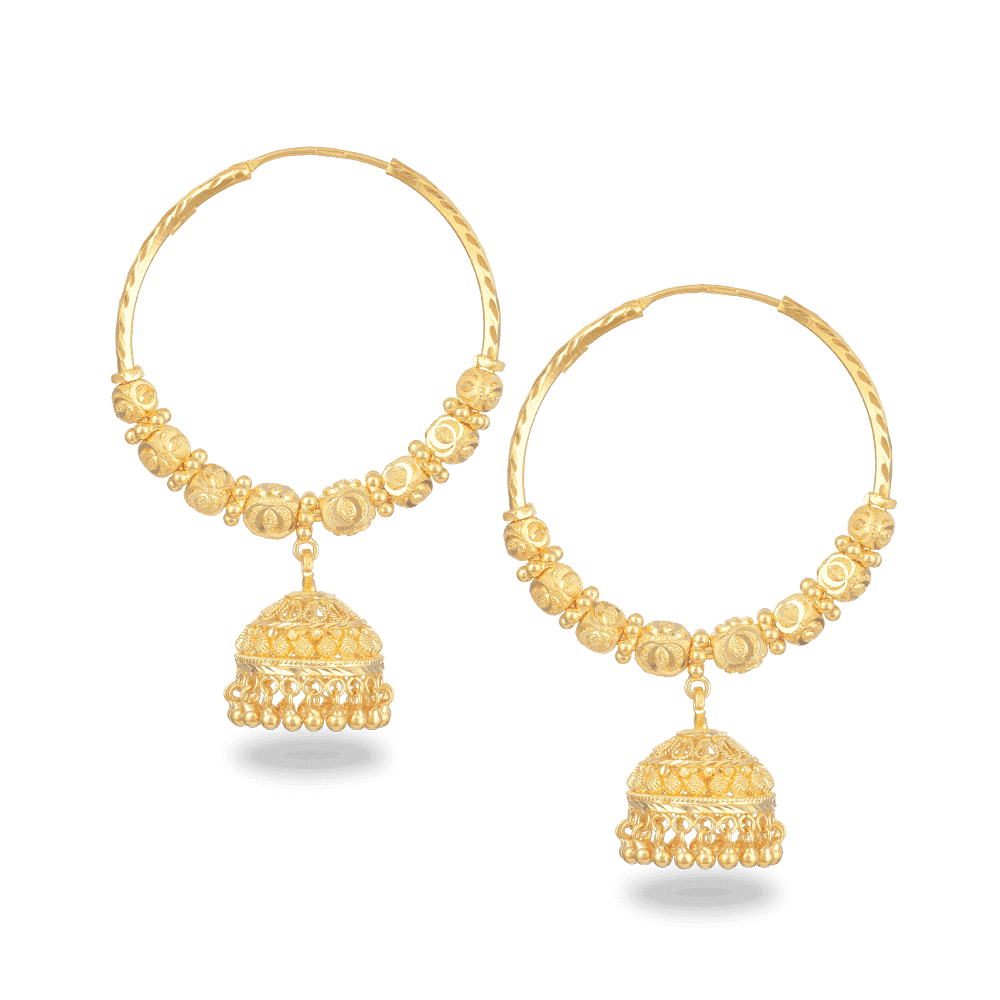 27352 - 22ct Gold Hoop Earrings With Droplet