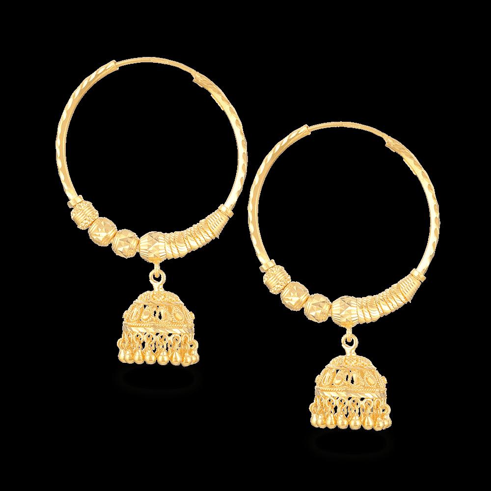 - 22ct Gold Hoop Earrings With Droplet
