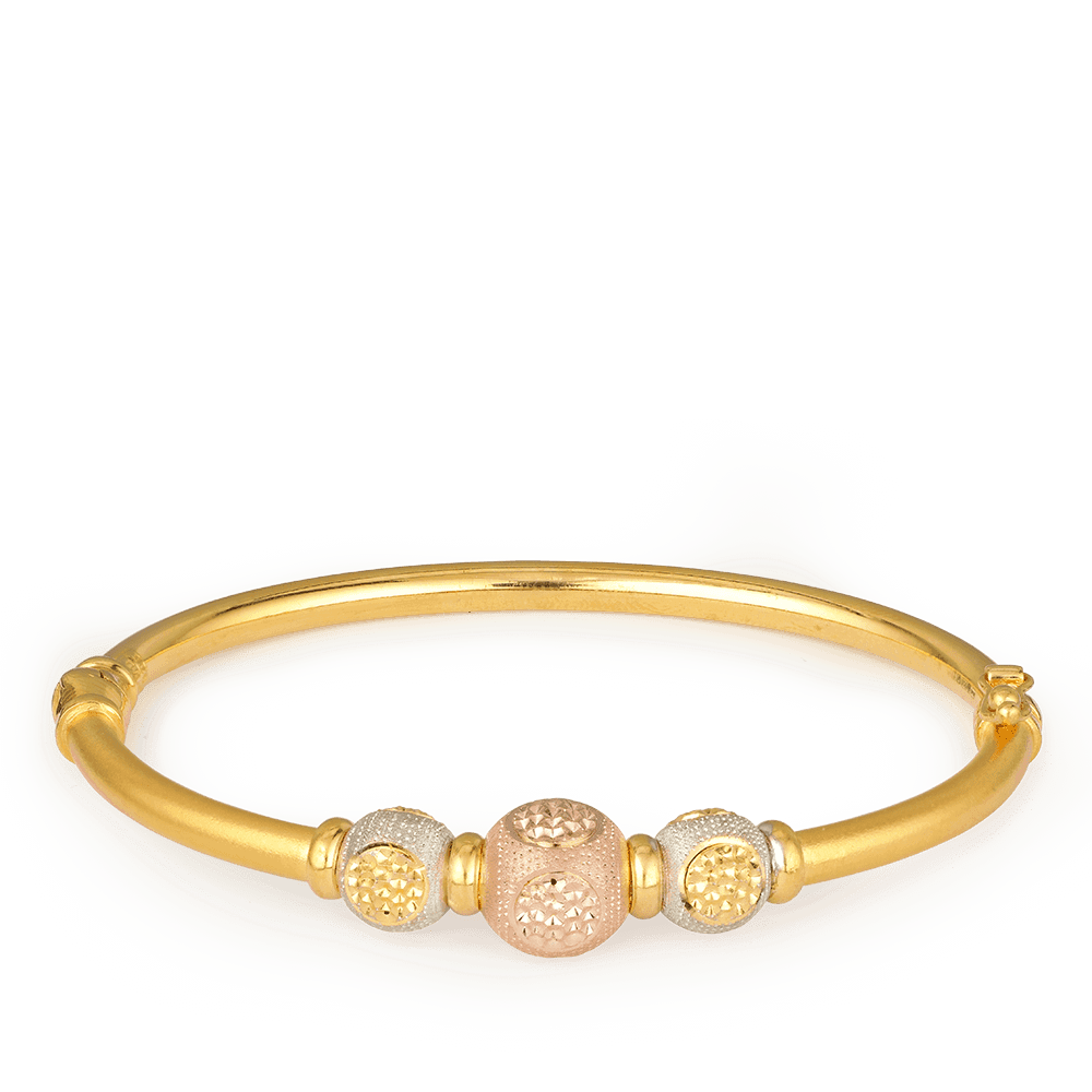 27438 - 22ct Gold Sparkle Bangle Bracelet