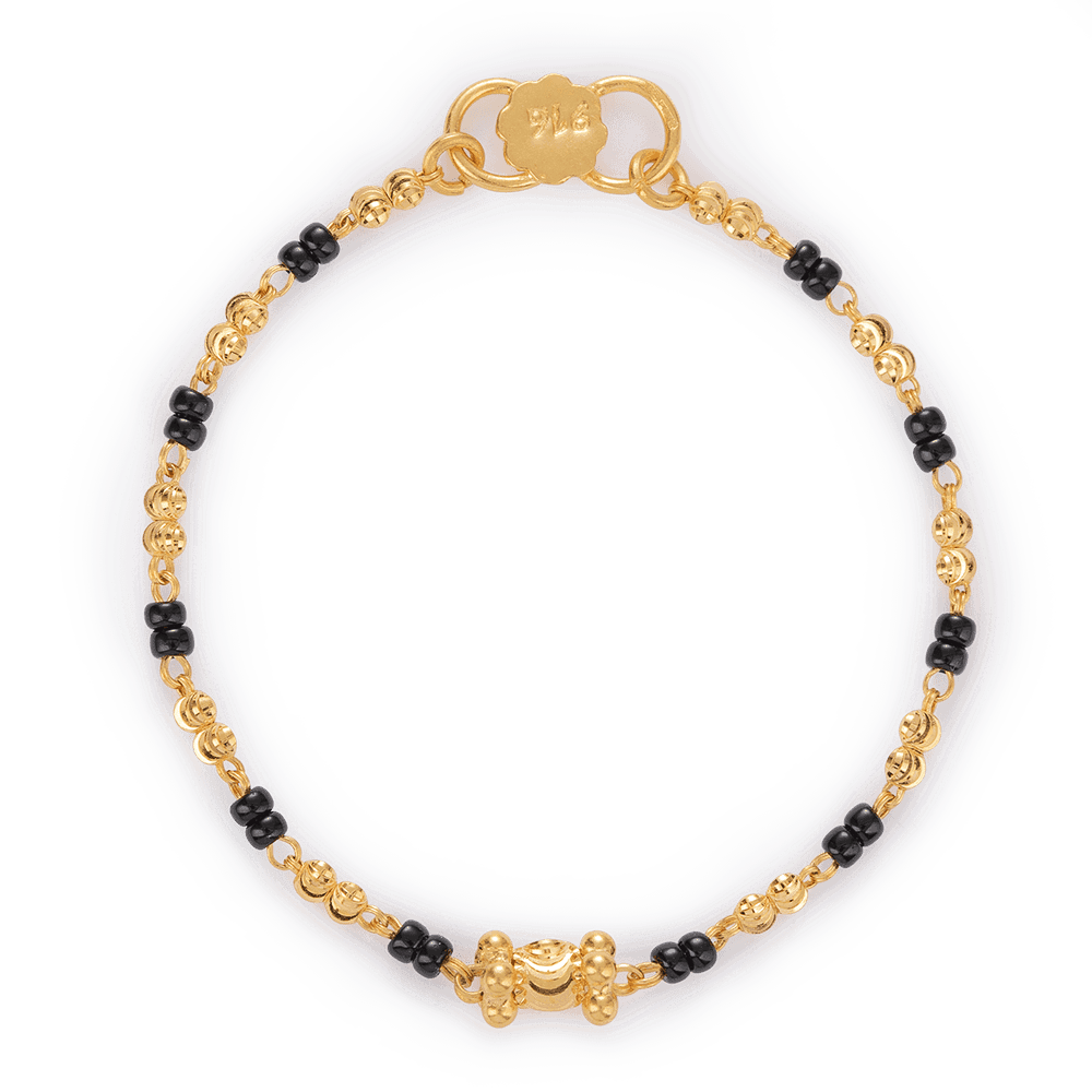 27489-1 - 22ct Gold Black Beads Baby Bracelet