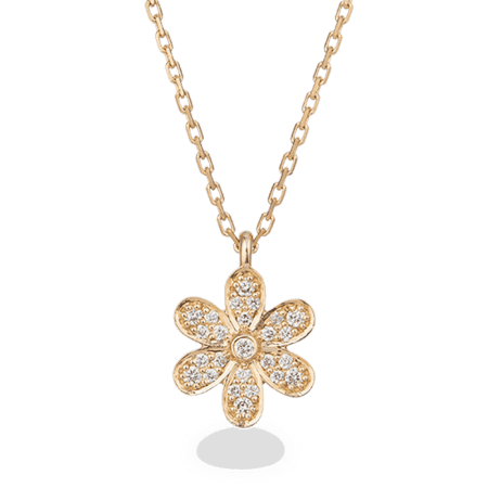 27738 - 18ct Yellow Gold Diamond Flower Necklace