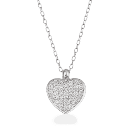 27739 - 18ct White Gold Diamond Heart Necklace