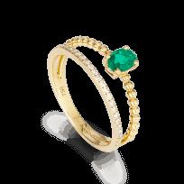 27745 - 18ct Yellow Gold Ladies Diamond and Emerald Ring