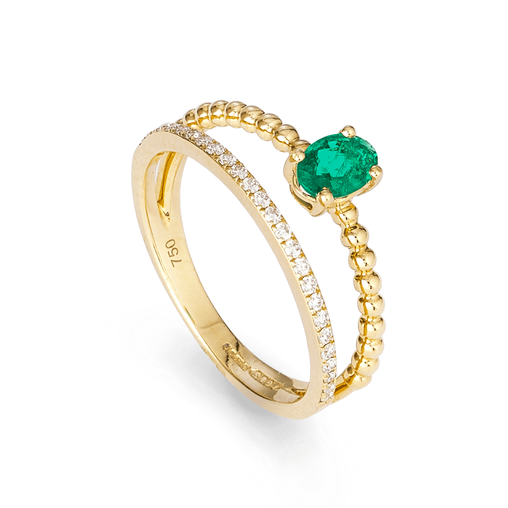 27745 - 18ct Yellow Gold Ladies Diamond and Emerald Ring