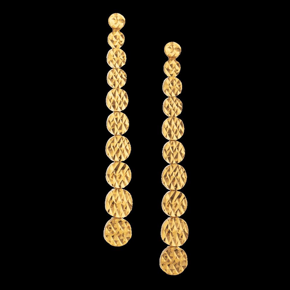 30923 - 22ct Gold Diamond Cut Earring
