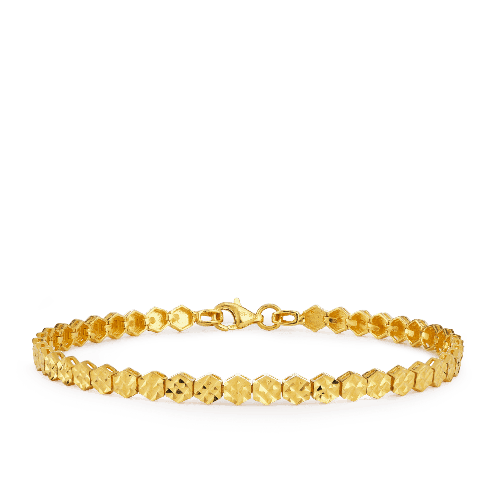 27847 - 22ct Gold Diamond Cut Bracelet