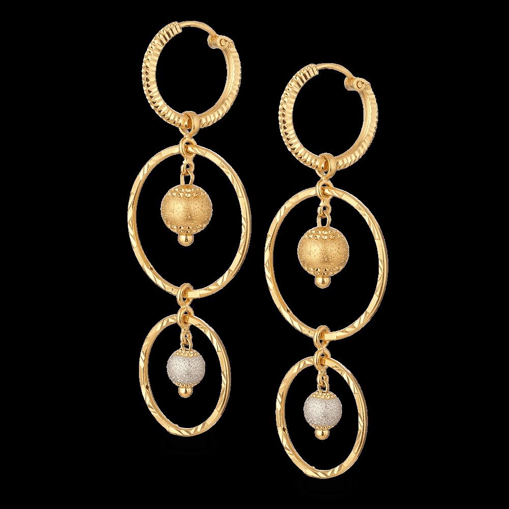 27989 - 22ct Gold Long Hoop Earrings