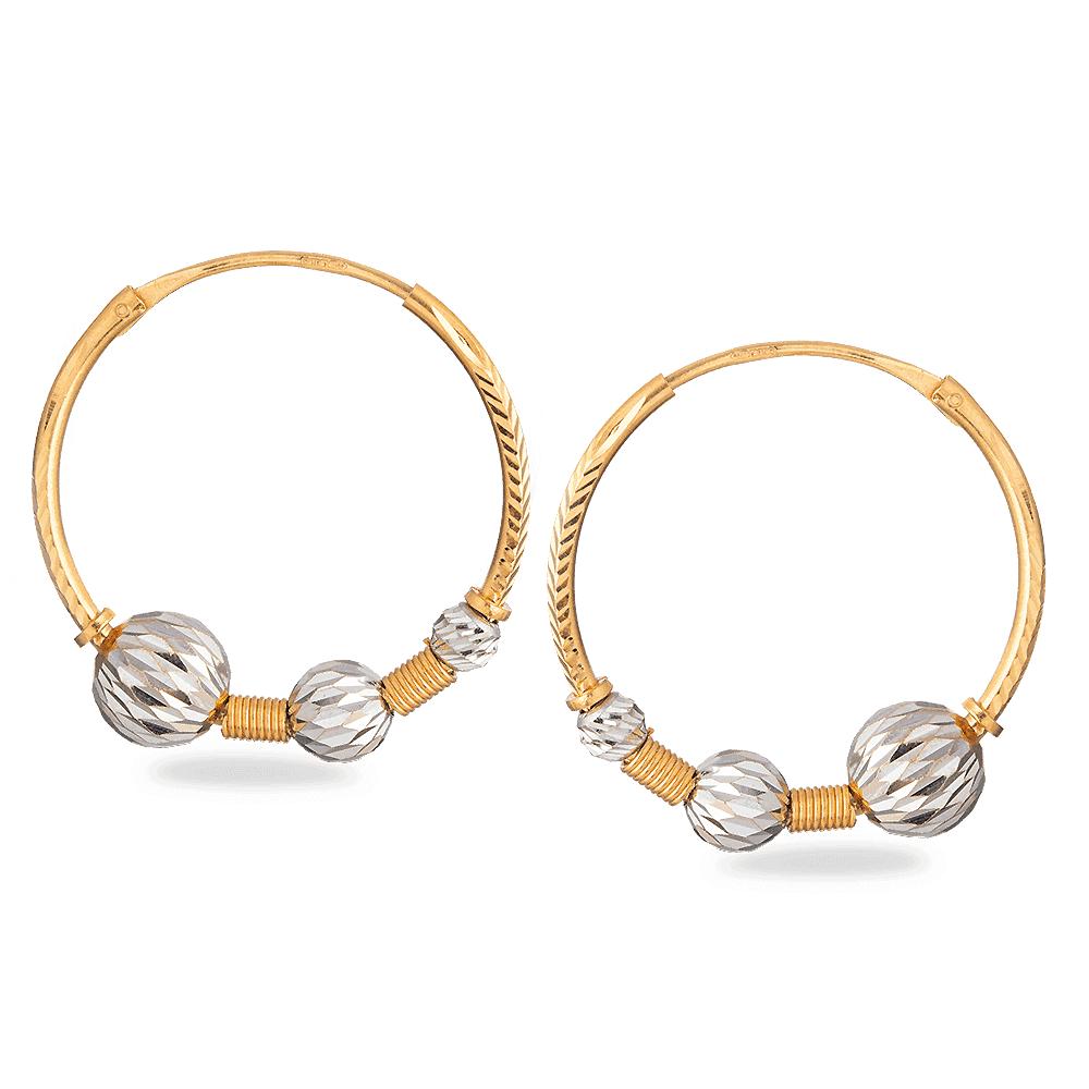 28002 - 22ct Gold Hoop Earrings with Rhodium Polish Ball