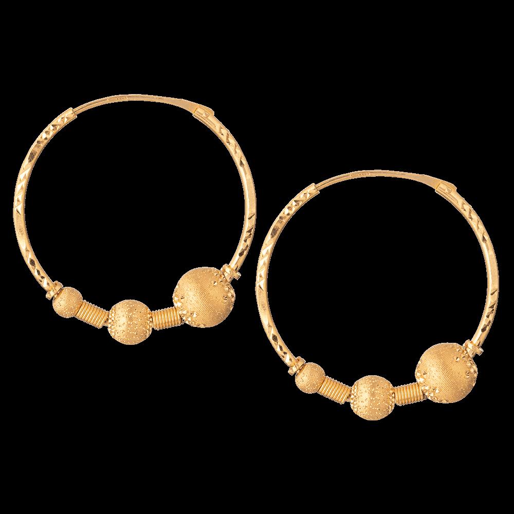 22ct Indian Gold Ball Hoop Earring