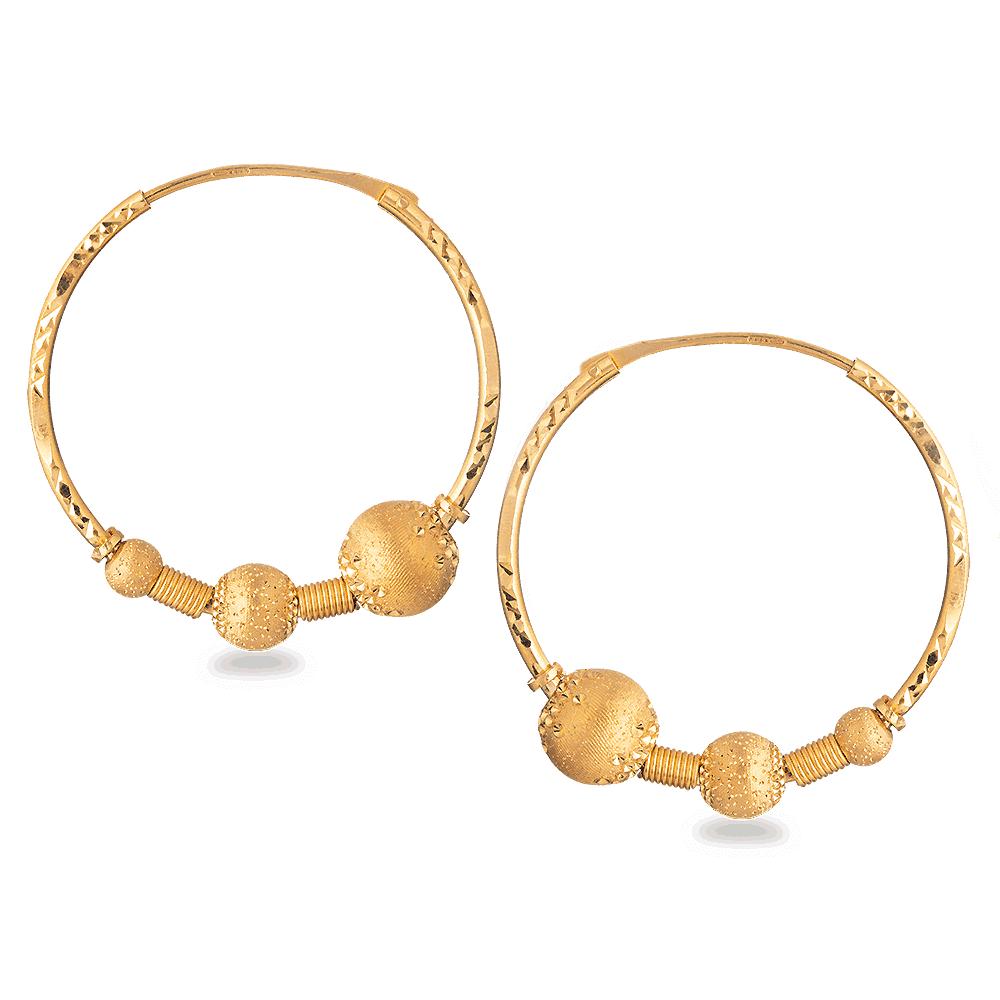 28011 - 22ct Indian Gold Ball Hoop Earring