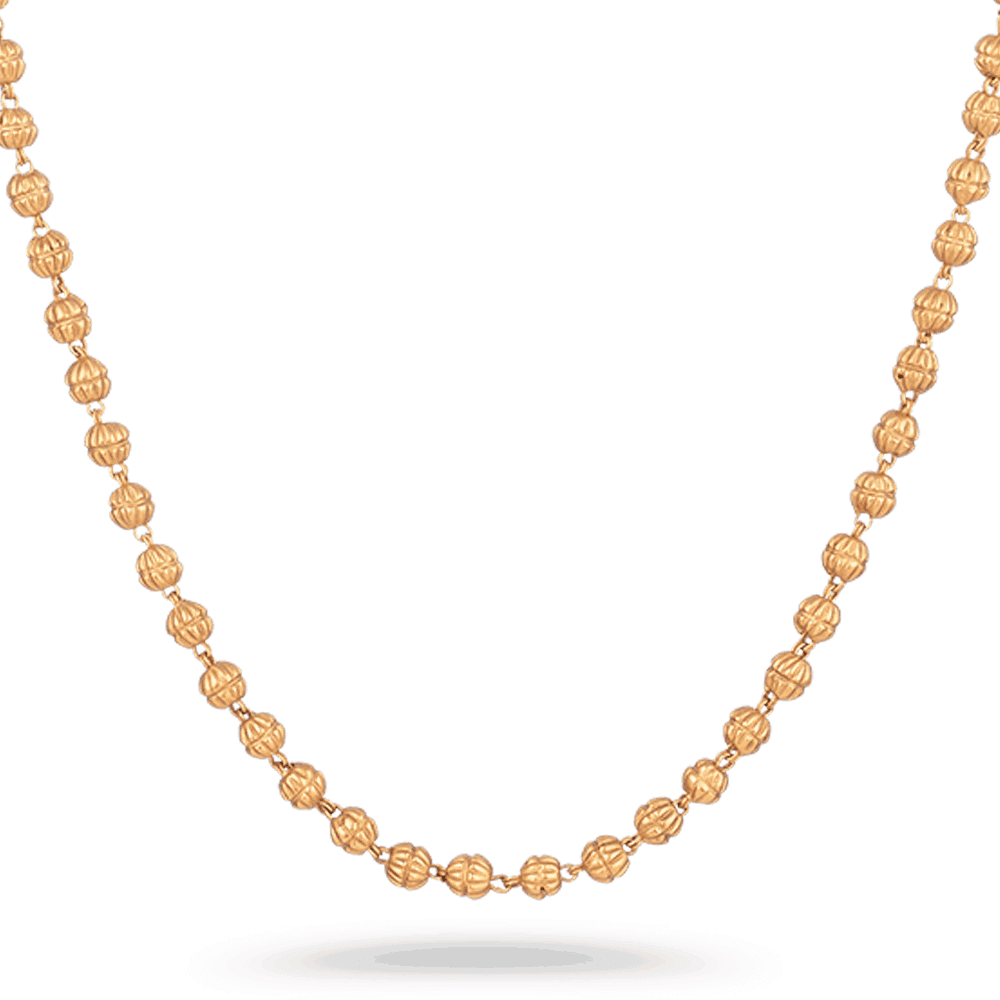 23580 - Anusha 22 carat Gold Bridal Chain with gold beads Design in 16 Inches