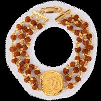 25586 - 22ct Gold Men's Bracelet With Rudraksha Mala