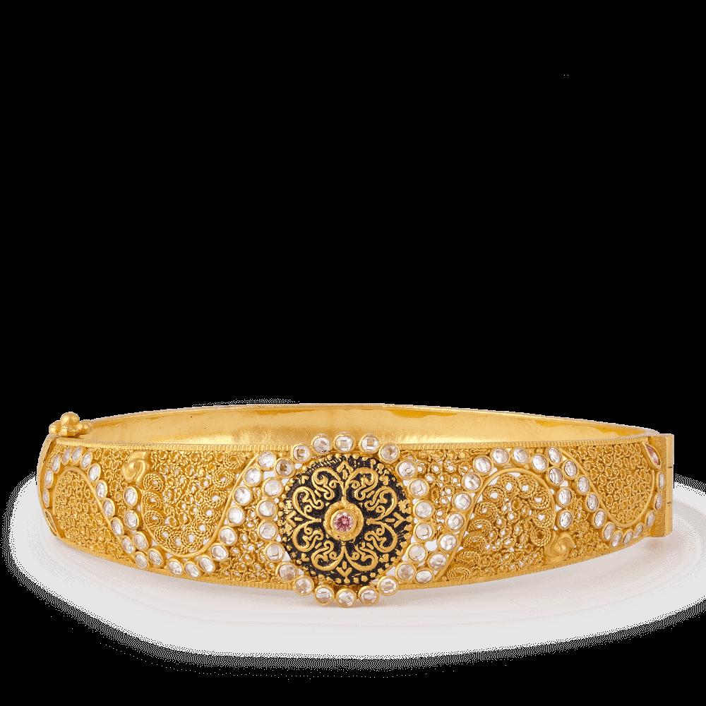 27499 - Anusha 22ct Gold Kada Bangle