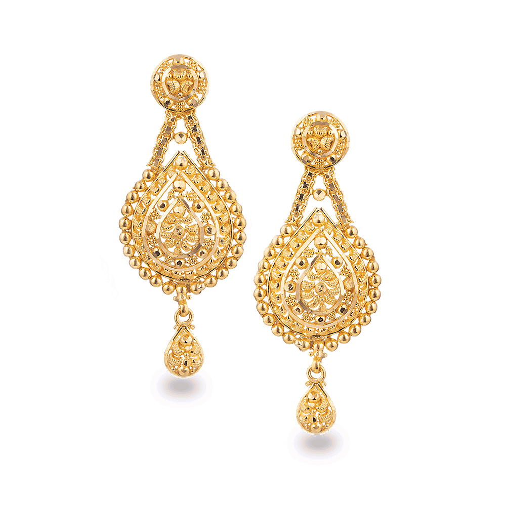 27826 - 22ct Gold Bridal Earring In Filigree Design